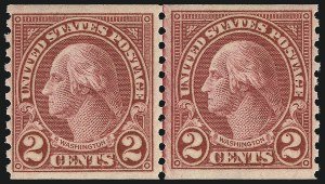 Sale Number 956, Lot Number 525, Later Issues2c Carmine, Ty. II, Coil (599A), 2c Carmine, Ty. II, Coil (599A)