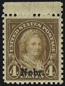 Sale Number 956, Lot Number 530, Later Issues4c Nebr. Ovpt. (673), 4c Nebr. Ovpt. (673)