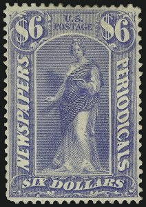 Sale Number 956, Lot Number 635, Newspapers and Periodicals$6.00 Ultramarine, 1875 Issue (PR26), $6.00 Ultramarine, 1875 Issue (PR26)