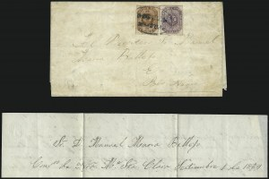 Sale Number 957, Lot Number 181, Colombia 1859 First Issue First Day Cover1859, 5c Violet, 10c Red Brown (3, 4), 1859, 5c Violet, 10c Red Brown (3, 4)