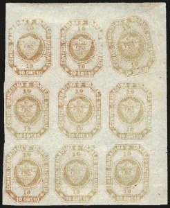 Sale Number 957, Lot Number 186, Colombia 1859 First Issue 1859, 10c Brown Orange (4d), 1859, 10c Brown Orange (4d)