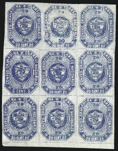 Sale Number 957, Lot Number 187, Colombia 1859 First Issue 1859, 5c and 20c Blue, Se-Tenant (6b), 1859, 5c and 20c Blue, Se-Tenant (6b)