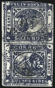"Sale Number 957, Lot Number 82, Buenos Aires 1859 1859, 1p (""In Ps"") Deep Blue, Tete-Beche (7d), 1859, 1p (""In Ps"") Deep Blue, Tete-Beche (7d)"