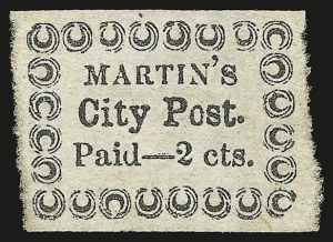 Sale Number 958, Lot Number 731, Carriers and LocalsMartin's City Post, Charleston S.C., 2c Black on Bluish (4LB16), Martin's City Post, Charleston S.C., 2c Black on Bluish (4LB16)