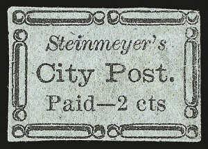 Sale Number 958, Lot Number 732, Carriers and LocalsSteinmeyer's City Post, Charleston S.C., 2c Black on Bluish (4LB19), Steinmeyer's City Post, Charleston S.C., 2c Black on Bluish (4LB19)