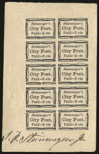 Sale Number 958, Lot Number 733, Carriers and LocalsSteinmeyer's City Post, Charleston S.C., 2c Black on Pink (4LB20), Steinmeyer's City Post, Charleston S.C., 2c Black on Pink (4LB20)