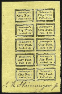 Sale Number 958, Lot Number 734, Carriers and LocalsSteinmeyer's City Post, Charleston S.C., 2c Black on Yellow (4LB21), Steinmeyer's City Post, Charleston S.C., 2c Black on Yellow (4LB21)