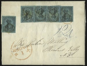 Sale Number 958, Lot Number 735, Carriers and LocalsU.S. City Despatch Post, New York N.Y., 3c Black on Blue Green Glazed (6LB5), U.S. City Despatch Post, New York N.Y., 3c Black on Blue Green Glazed (6LB5)