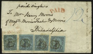 Sale Number 958, Lot Number 736, Carriers and LocalsU.S. City Despatch Post, New York N.Y., 3c Black on Green Glazed (6LB5d), U.S. City Despatch Post, New York N.Y., 3c Black on Green Glazed (6LB5d)