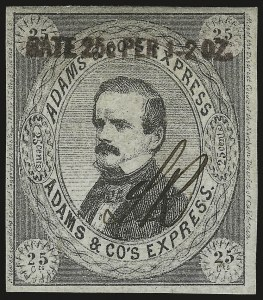 "Sale Number 958, Lot Number 739, Carriers and LocalsAdams & Co.'s Express, Cal., 25c Black, ""Rate 25c Per 1-2 Oz."", Black Overprint (1L5), Adams & Co.'s Express, Cal., 25c Black, ""Rate 25c Per 1-2 Oz."", Black Overprint (1L5)"