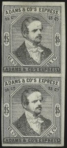 Sale Number 958, Lot Number 740, Carriers and LocalsAdams & Co.'s Express, Cal., 25c Black (1L6), Adams & Co.'s Express, Cal., 25c Black (1L6)