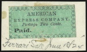 Sale Number 958, Lot Number 741, Carriers and LocalsAmerican Express Co., New York N.Y., 2c Black on Green (4L1), American Express Co., New York N.Y., 2c Black on Green (4L1)