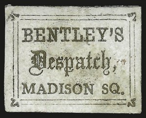 Sale Number 958, Lot Number 742, Carriers and LocalsBentley's Dispatch, New York N.Y., (unstated value) Gold (10L2), Bentley's Dispatch, New York N.Y., (unstated value) Gold (10L2)