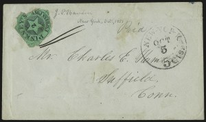 Sale Number 958, Lot Number 752, Carriers and LocalsPinkney's Express Post, New York N.Y., 2c Black on Green Glazed (115L1), Pinkney's Express Post, New York N.Y., 2c Black on Green Glazed (115L1)