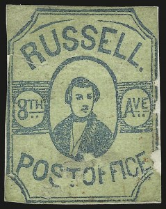 Sale Number 958, Lot Number 753, Carriers and LocalsRussell's 8th Ave. Post Office, New York N.Y., (2c) Blue Green on Green (130L4), Russell's 8th Ave. Post Office, New York N.Y., (2c) Blue Green on Green (130L4)