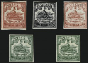 Sale Number 958, Lot Number 754, Carriers and LocalsWells, Fargo & Co. Pony Express, $2.00-$4.00 Horse & Rider Issues (143L1-143L5), Wells, Fargo & Co. Pony Express, $2.00-$4.00 Horse & Rider Issues (143L1-143L5)