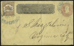 Sale Number 958, Lot Number 756, Carriers and LocalsWells, Fargo & Co. Pony Express, 10c Brown (143L7), Wells, Fargo & Co. Pony Express, 10c Brown (143L7)
