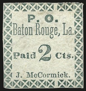 Sale Number 958, Lot Number 780, Confederate StatesBaton Rouge La., 2c Green (11X1), Baton Rouge La., 2c Green (11X1)