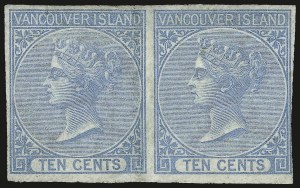 Sale Number 958, Lot Number 818, British North AmericaBRITISH COLUMBIA AND VANCOUVER ISLAND, 1866, 10c Blue (4; SG 12), BRITISH COLUMBIA AND VANCOUVER ISLAND, 1866, 10c Blue (4; SG 12)