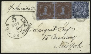Sale Number 958, Lot Number 823, British North AmericaNOVA SCOTIA, 1851, 1p Red Brown, 3p Dark Blue (1, 3; SG 1, 2), NOVA SCOTIA, 1851, 1p Red Brown, 3p Dark Blue (1, 3; SG 1, 2)