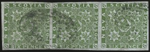 Sale Number 958, Lot Number 825, British North AmericaNOVA SCOTIA, 1851, 6p Yellow Green (4; SG 5), NOVA SCOTIA, 1851, 6p Yellow Green (4; SG 5)