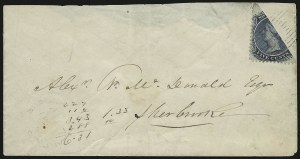 Sale Number 958, Lot Number 827, British North AmericaNOVA SCOTIA, 1860, 5c Blue, Bisect (10b; SG 13 var), NOVA SCOTIA, 1860, 5c Blue, Bisect (10b; SG 13 var)