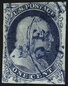 Sale Number 959, Lot Number 2068, 1851-56 Issue (Scott 5A-17)1c Blue, Ty. Ia (6), 1c Blue, Ty. Ia (6)