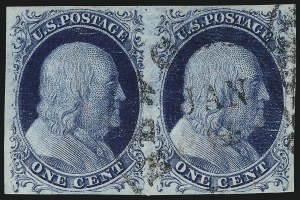 Sale Number 959, Lot Number 2070, 1851-56 Issue (Scott 5A-17)1c Blue, Ty. II (7), 1c Blue, Ty. II (7)