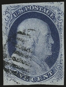 Sale Number 959, Lot Number 2075, 1851-56 Issue (Scott 5A-17)1c Blue, Ty. III, Position 99R2 (8), 1c Blue, Ty. III, Position 99R2 (8)