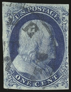Sale Number 959, Lot Number 2077, 1851-56 Issue (Scott 5A-17)1c Blue, Ty. III (8), 1c Blue, Ty. III (8)