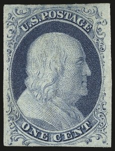 Sale Number 959, Lot Number 2081, 1851-56 Issue (Scott 5A-17)1c Blue, Ty. IV (9), 1c Blue, Ty. IV (9)