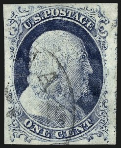 Sale Number 959, Lot Number 2086, 1851-56 Issue (Scott 5A-17)1c Blue, Ty. IV (9), 1c Blue, Ty. IV (9)