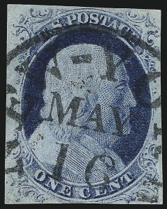 Sale Number 959, Lot Number 2090, 1851-56 Issue (Scott 5A-17)1c Blue, Ty. IV, Triple Transfer, One Inverted (9 var), 1c Blue, Ty. IV, Triple Transfer, One Inverted (9 var)