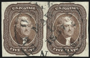 Sale Number 959, Lot Number 2115, 1851-56 Issue (Scott 5A-17)5c Red Brown (12), 5c Red Brown (12)