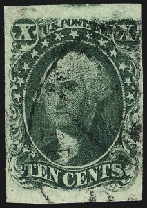 Sale Number 959, Lot Number 2119, 1851-56 Issue (Scott 5A-17)10c Green, Ty. I (13), 10c Green, Ty. I (13)
