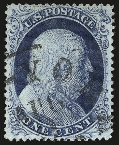 Sale Number 959, Lot Number 2150, 1857-60 Issue (Scott 18-39)1c Blue, Ty. II (20), 1c Blue, Ty. II (20)
