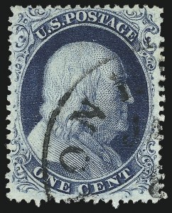 Sale Number 959, Lot Number 2154, 1857-60 Issue (Scott 18-39)1c Blue, Ty. III (21), 1c Blue, Ty. III (21)