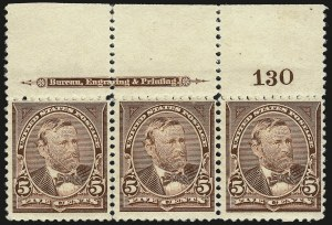 Sale Number 959, Lot Number 2562, 1894 Unwatermarked Bureau Issue (Scott 246-263)5c Chocolate (255), 5c Chocolate (255)