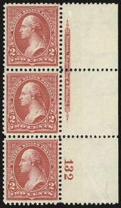 Sale Number 959, Lot Number 2578, 1895 Watermarked Bureau Issue (Scott 264-278)2c Carmine, Ty. II (266), 2c Carmine, Ty. II (266)