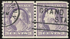 Sale Number 959, Lot Number 2947, 1917-19 Issues (Scott 481-524)3c Violet, Ty. I, Coil (493), 3c Violet, Ty. I, Coil (493)