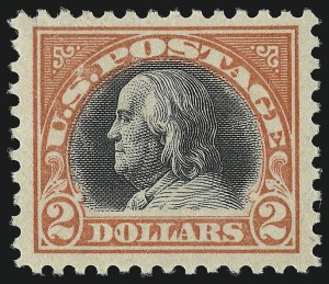 Sale Number 959, Lot Number 2978, 1917-19 Issues (Scott 481-524)$2.00 Orange Red & Black (523), $2.00 Orange Red & Black (523)