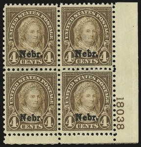 Sale Number 959, Lot Number 3056, 1925 and Later Issues (Scott 628-723)4c Nebr. Ovpt. (673), 4c Nebr. Ovpt. (673)