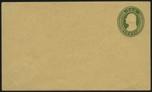 Sale Number 959, Lot Number 3251, Postal Stationery10c Green on Buff, Nesbitt entire (U16), 10c Green on Buff, Nesbitt entire (U16)