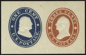 Sale Number 959, Lot Number 3252, Postal Stationery3c + 1c Red & Blue on White, Die 14 (U28), 3c + 1c Red & Blue on White, Die 14 (U28)