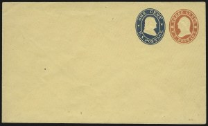 Sale Number 959, Lot Number 3253, Postal Stationery3c + 1c Red & Blue on Buff entire, Die 14 (U29), 3c + 1c Red & Blue on Buff entire, Die 14 (U29)
