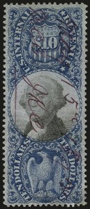 Sale Number 959, Lot Number 3272, Revenues (First thru Third Issues)$10.00 Blue & Black, Second Issue (R128), $10.00 Blue & Black, Second Issue (R128)