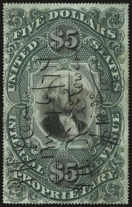 Sale Number 959, Lot Number 3277, Revenues (Proprietary thru Consular Service)$5.00 Green & Black on Violet Paper, Proprietary (RB10a), $5.00 Green & Black on Violet Paper, Proprietary (RB10a)