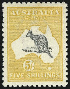 Sale Number 960, Lot Number 1021, Antigua thru British Colombia and Vancouver IslandAUSTRALIA, 1915, 5sh Yellow & Gray (44; SG 30), AUSTRALIA, 1915, 5sh Yellow & Gray (44; SG 30)