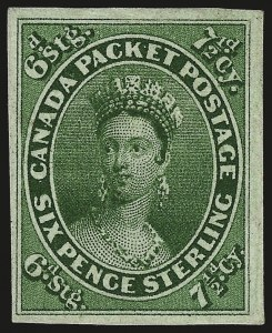 Sale Number 960, Lot Number 1066, Canada Imperforate IssuesCANADA, 1857, 7-1/2p Green (9), CANADA, 1857, 7-1/2p Green (9)