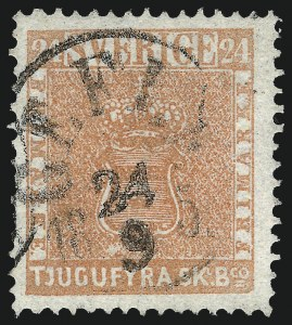 Sale Number 960, Lot Number 1307, Peru thru TriesteSWEDEN, 1855, 24s Dull Red (5), SWEDEN, 1855, 24s Dull Red (5)